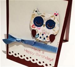 A simple but sophisticated birthday card, made using the Create A Critter owl. It combines a more feminine approach, as it uses floral patterns, bows and scalloped punches. This card will be sure to please a friend on her Birthday!