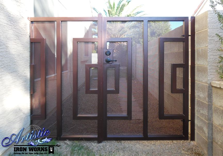 Modern Style Wrought Iron Gate With Perforated Metal