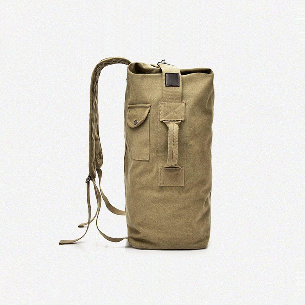 Vintage canvas Leather backpack shoulder bag Duffle Bag travel Luggage bag 55L