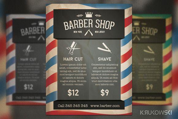 Barber Shop Retro Flyer  Barber Shop Flyer Template And