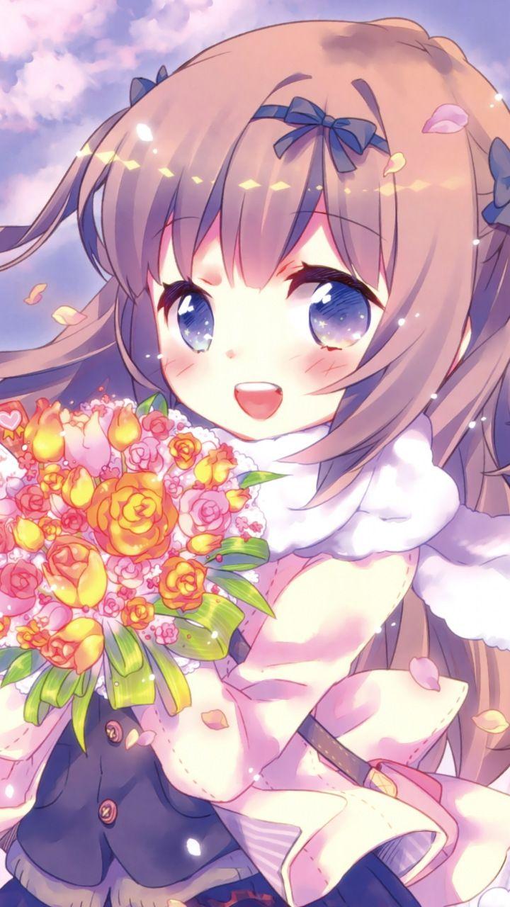 anime girl, cute, flowers, bouquet, 720x1280 wallpaper | cute