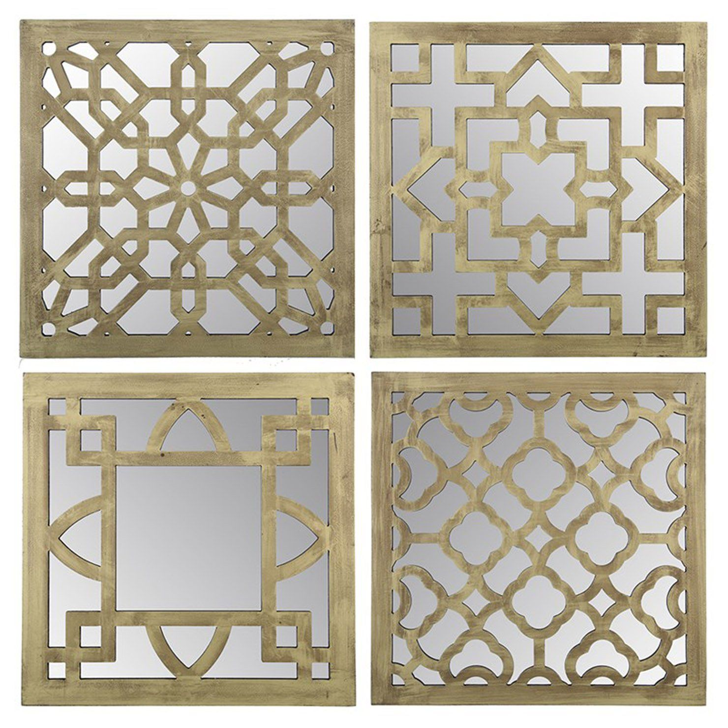 Set Of Four Gold Mudejar Mirrors 39 5 X 39 5 X 2cm Achica Free Small Woodworking Projects Mirror