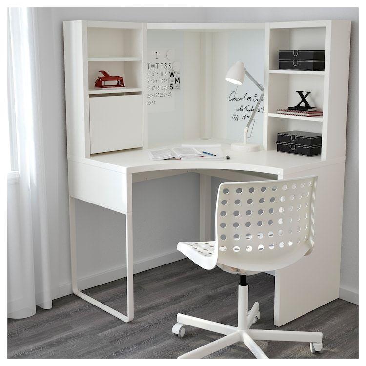 Micke Corner Work Station White Ikea White Desk Bedroom Diy Corner Desk Corner Workstation