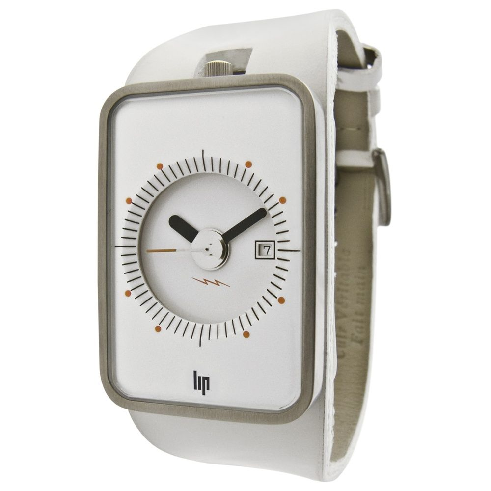 Lip 'Fridge' watch - white leather.  Originally designed by Roger Tallon for Lip in the 1970s, this classic vintage watch has been re-released with a modern funky finish.  Royal Museums Greenwich.  http://shop.rmg.co.uk
