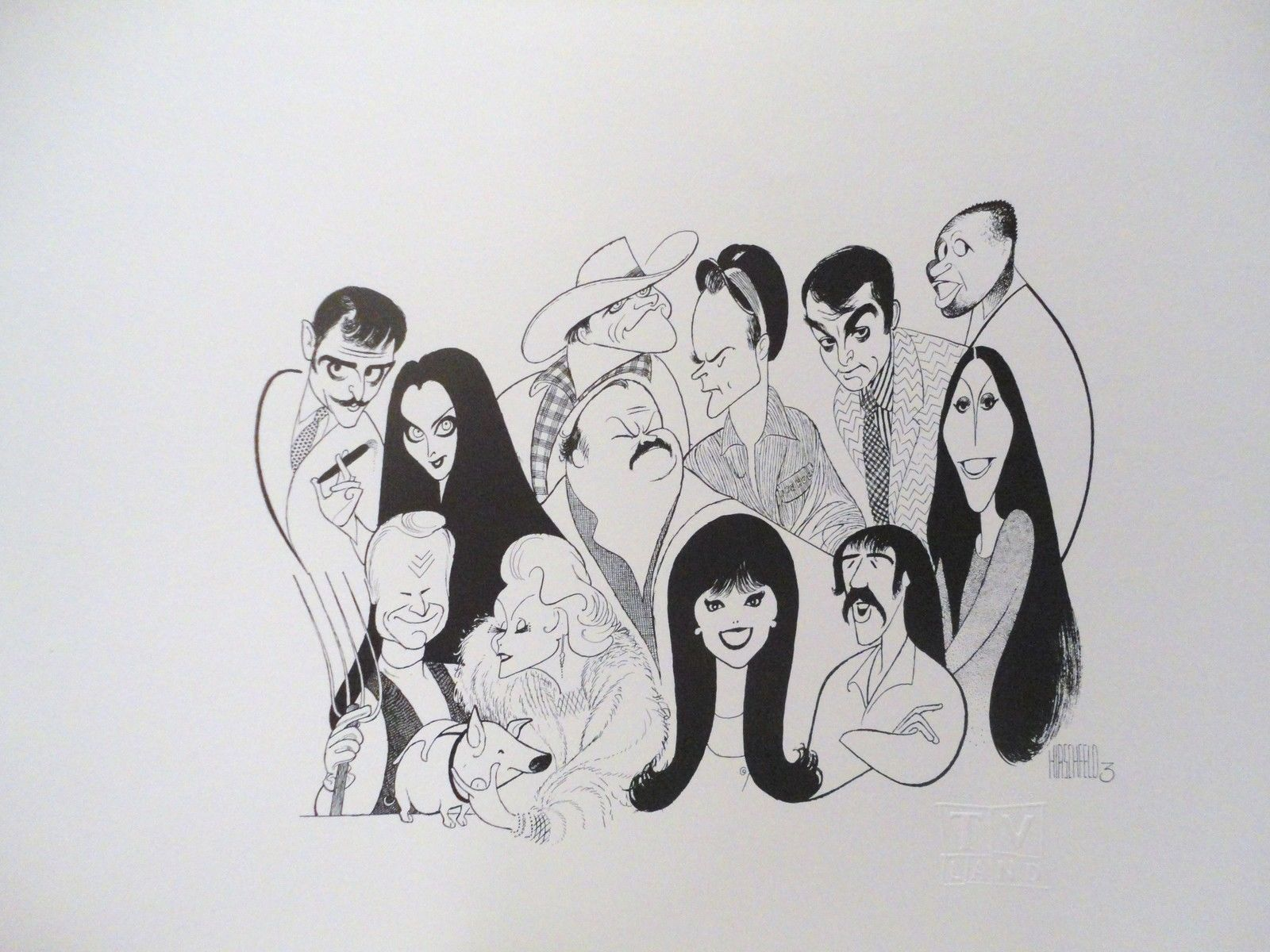 Al Hirschfeld Nick At Nite John Astin And Carolyn Lawrence In The Addams Family Eddie Albert And Eva Gabor In Green Flip Wilson John Astin Hogans Heroes