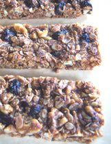 Gluten-Free Granola Bar Recipe Image Teri Gruss - going to replace the walnuts with shredded coconut and 1/2 the cranberries with chocolate chips to make it nut free for school luches.