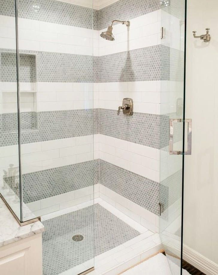 Break Up A Simple Shower Stall With Thick Grey Penny Tile Stripes