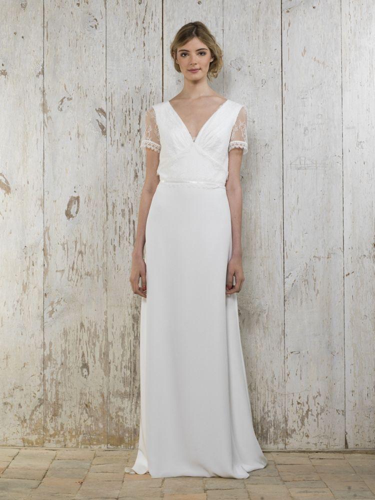 klassische Brautkleider -elegant-schlicht-simpel-weiss-v-ausschnitt ...