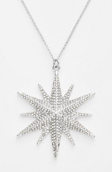 Women's Louise et Cie 'Micro Pave' Star Pendant Necklace - Rhodium/ Crystal
