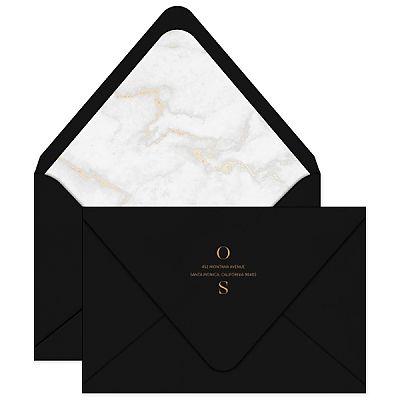 jardin invitation envelope wedding gold marble liner black