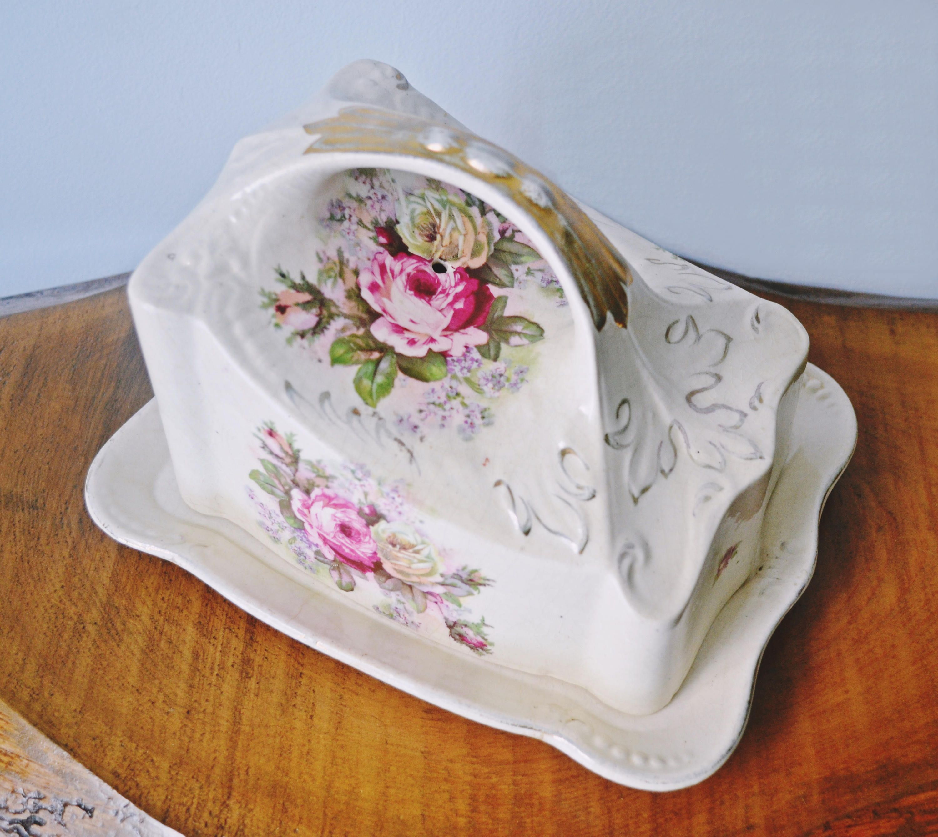 Antique Cheese Keeper Ironstone Rose