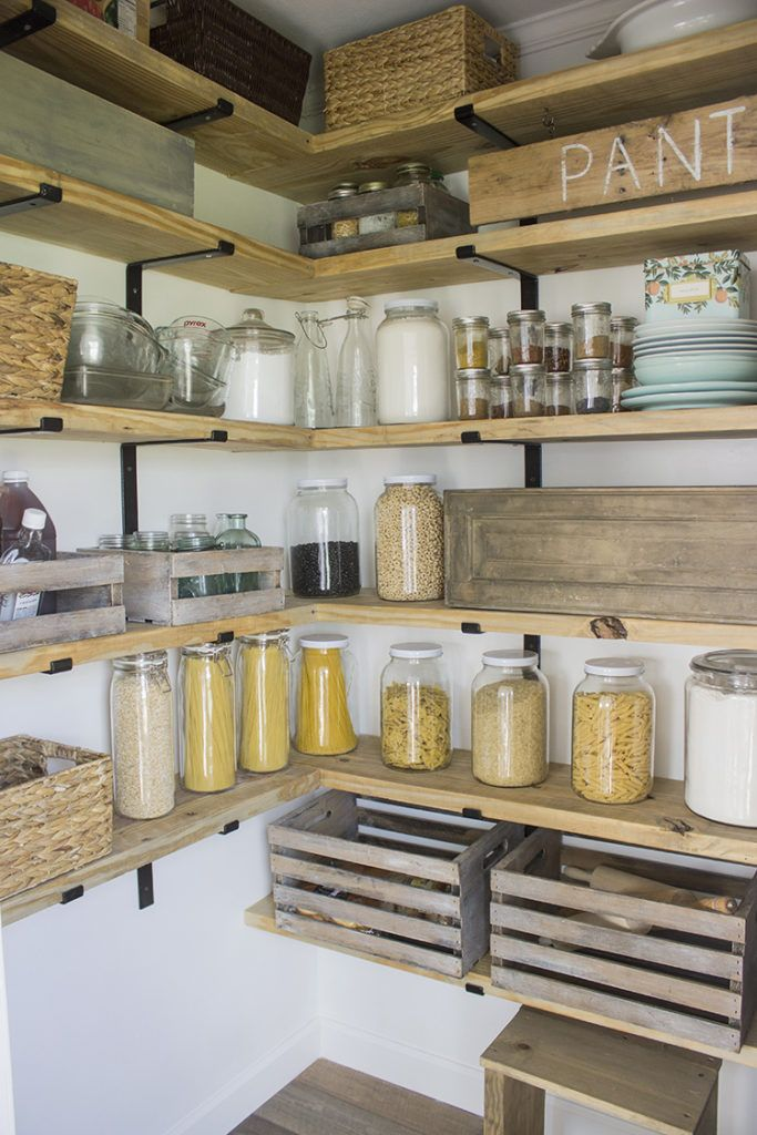DIY Organized Walk In Modern Farmhouse Butler's Pantry Makeover With Floating Shelves - Using Crate & Pallet, Home Depot Brackets | We Lived Happily Ever After #pantryshelving