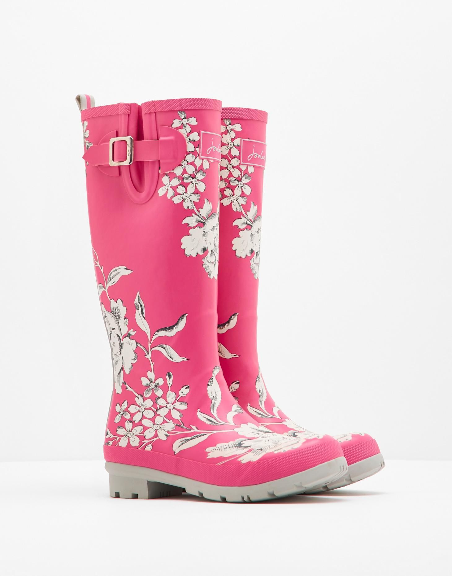 Wellyprint True Pink Floral Printed Rain Boots