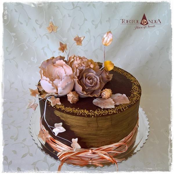 Čokoládovo-zlatá s ružami 2