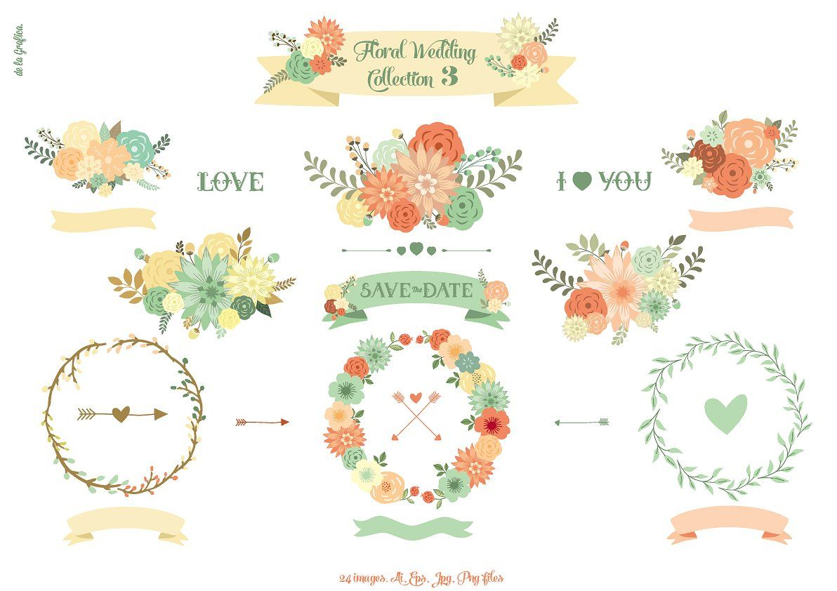 Floral Wedding Collection 3 by Delagrafica on @creativemarket