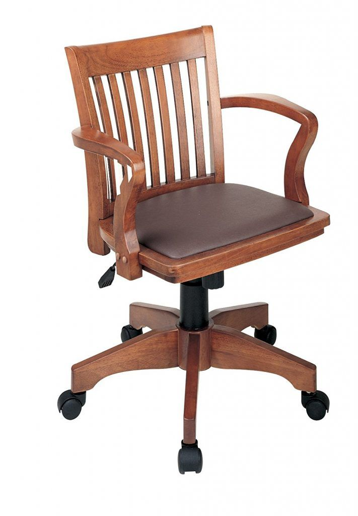 Office Star Deluxe Wood Bankers Desk Chair With Brown Vinyl Padded Seat Fruit Pneumatic Height Adjustment Locking Tilt Control Adjule