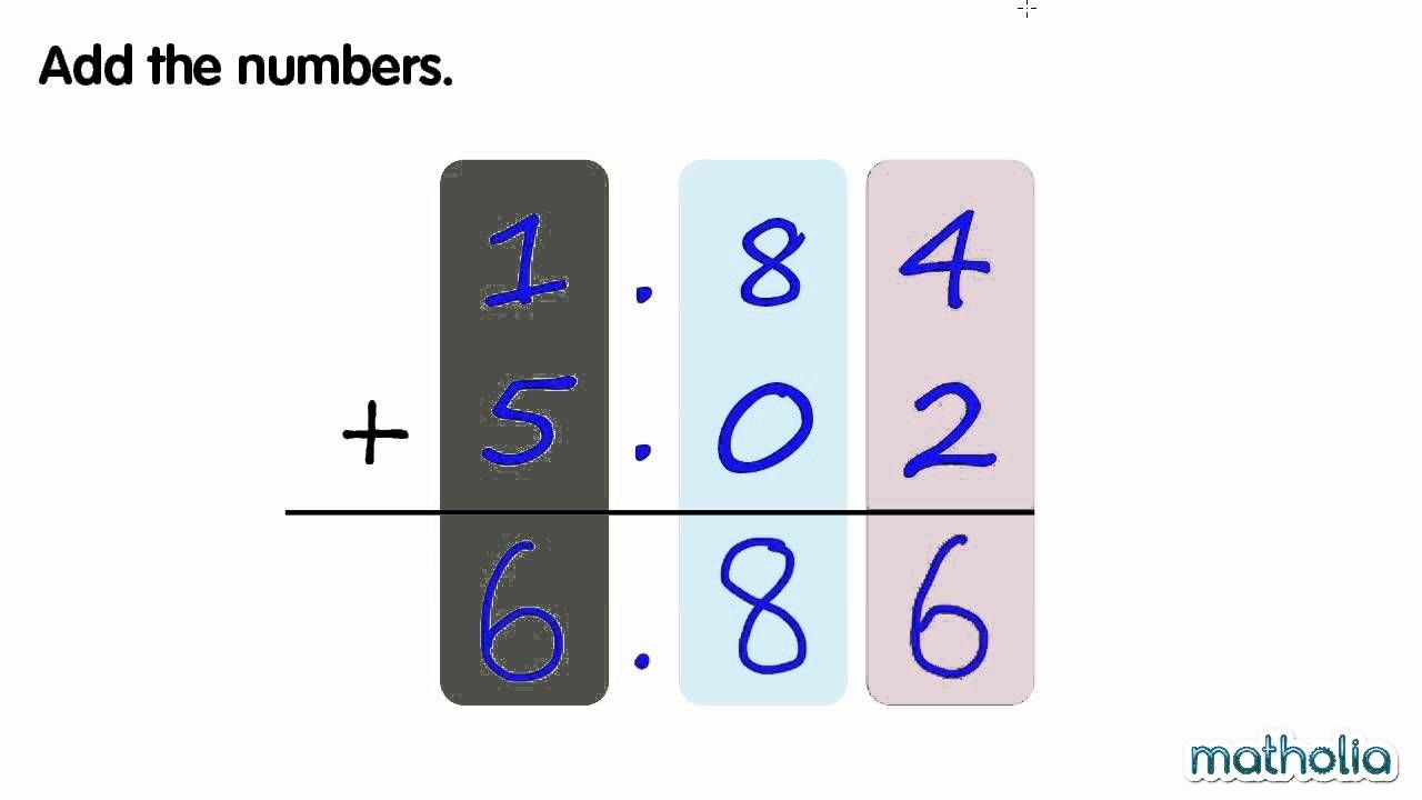 Addition Of Decimals Without Regrouping Math Addition Games Singapore Math Math Videos Addition without regrouping video