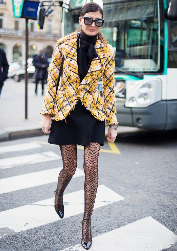 Day 20: Winterize your outfit with textured tights. via @WhoWhatWear
