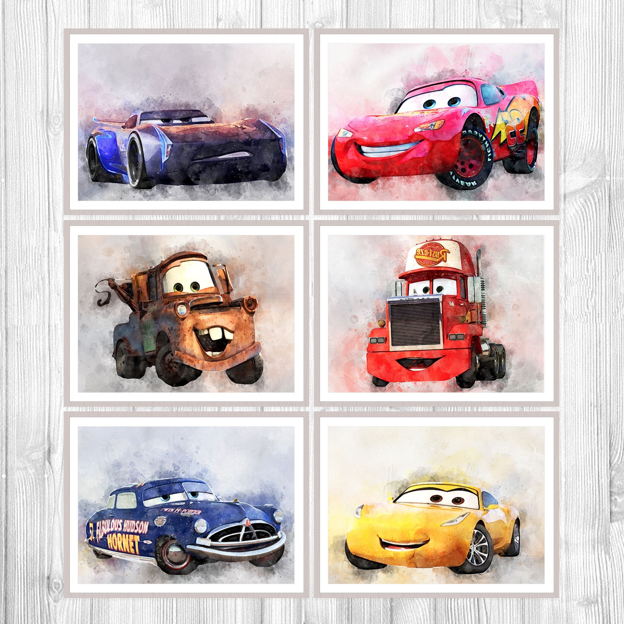 $3965 Cars 6 Print Set, Lighting Mcqueen Hd Watercolor Set