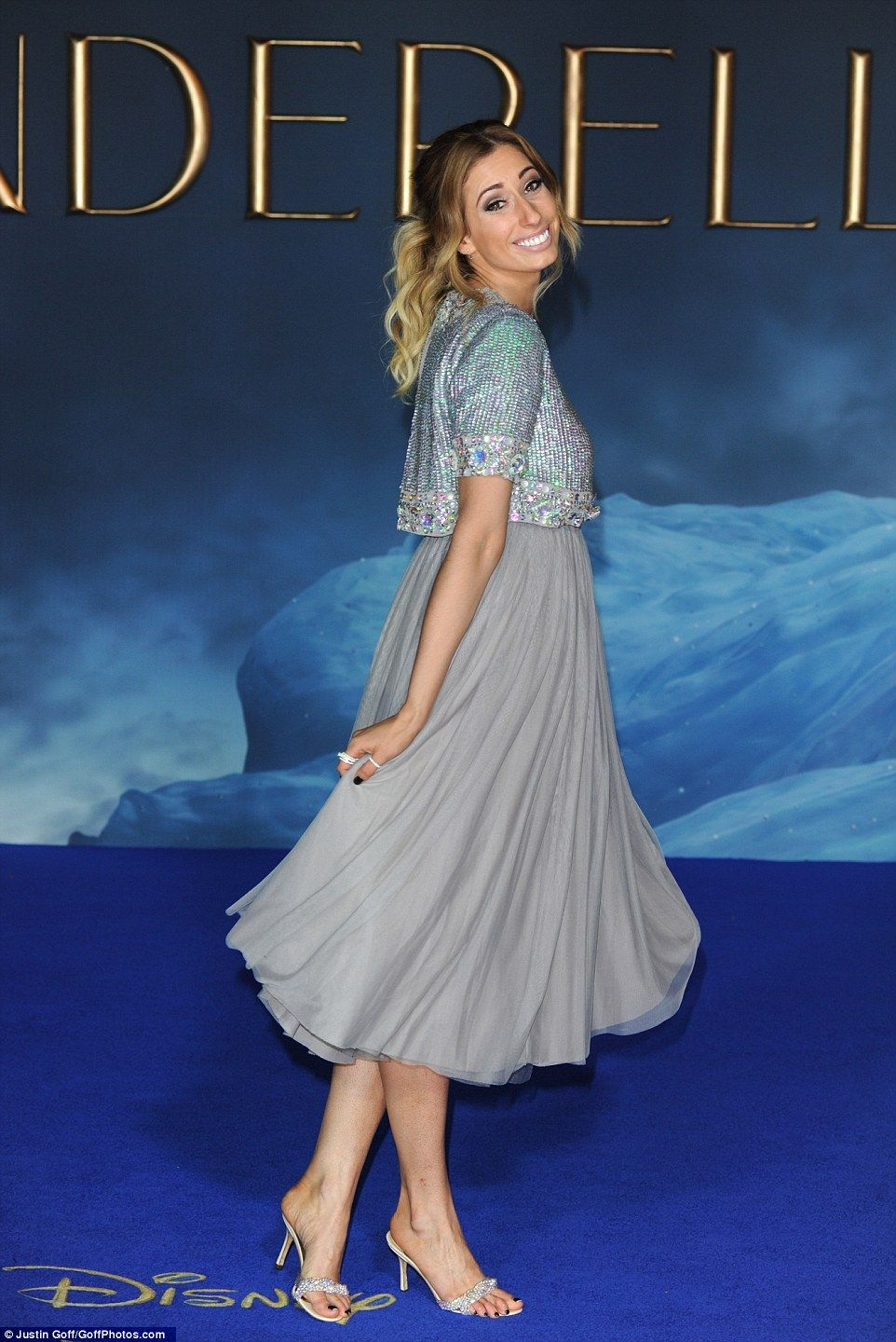 Lily James sparkles in thigh high split gown at Cinderella UK ...