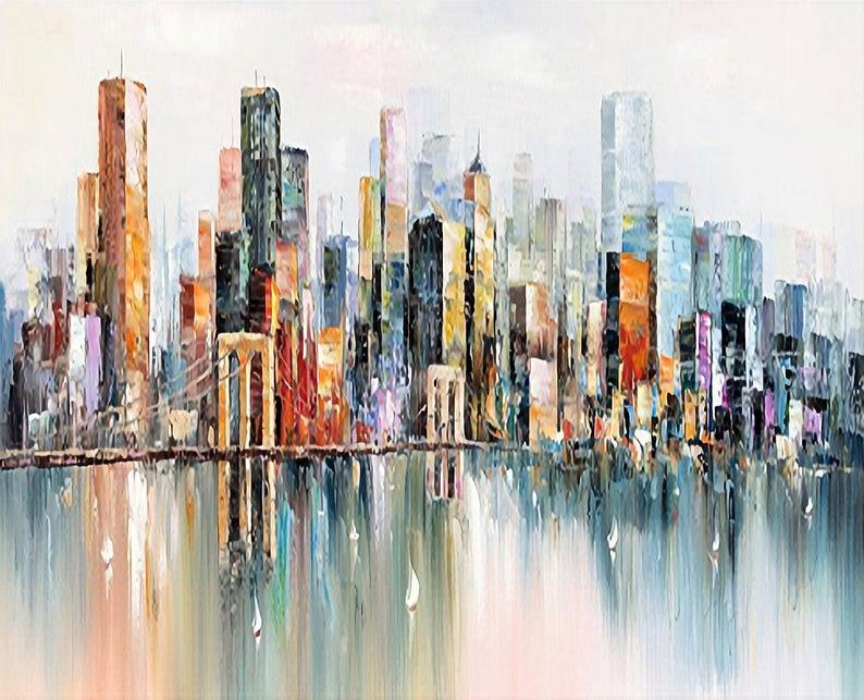 Large Abstract Urban Landscape Painting New York City Landscape Knife Painting City Art Oil Painting Decor Original City Art Oil Painting En 2020 Pintura Paisajistica Cuadros De Arte Arte Urbano