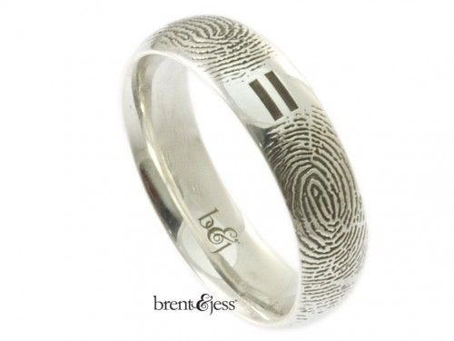 New Equal Partners Low Dome Comfort Fit Fingerprint Wedding Ring Custom handmade fingerprint jewelry by Brent uJess