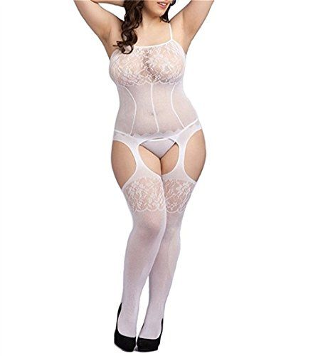 d53c6e4ae2 Curbigals Sexy Lace Strappy Crotchless Bodystocking Plus Size Fishnet Teddy  Lingerie Fishnet Bodystocking