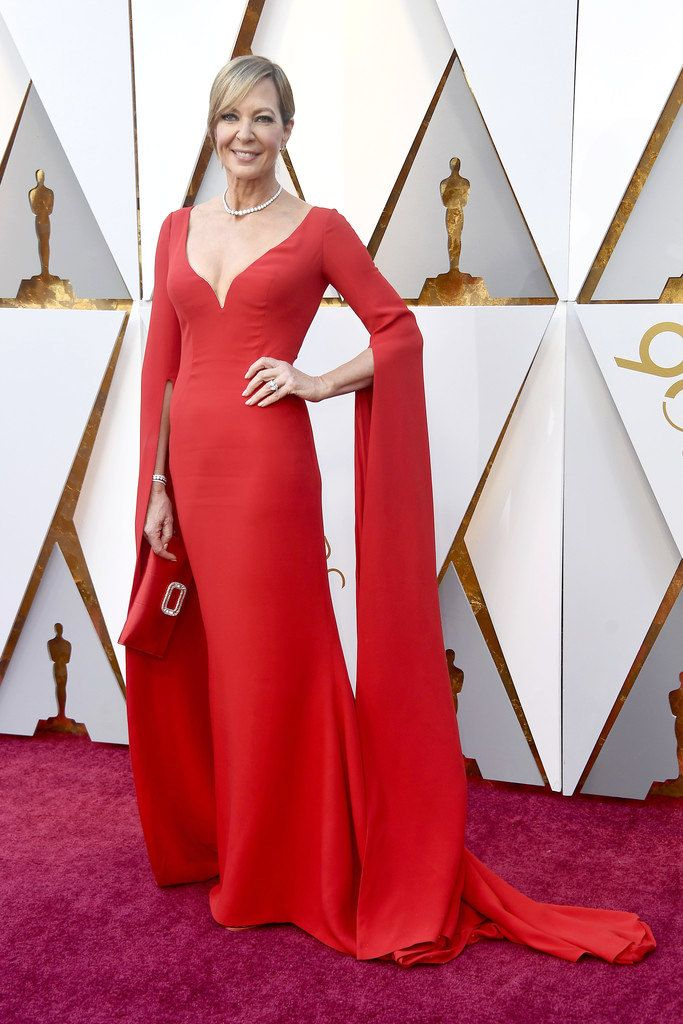 Allison Janney wore a custom Reem Acra red gown with a plunging ...