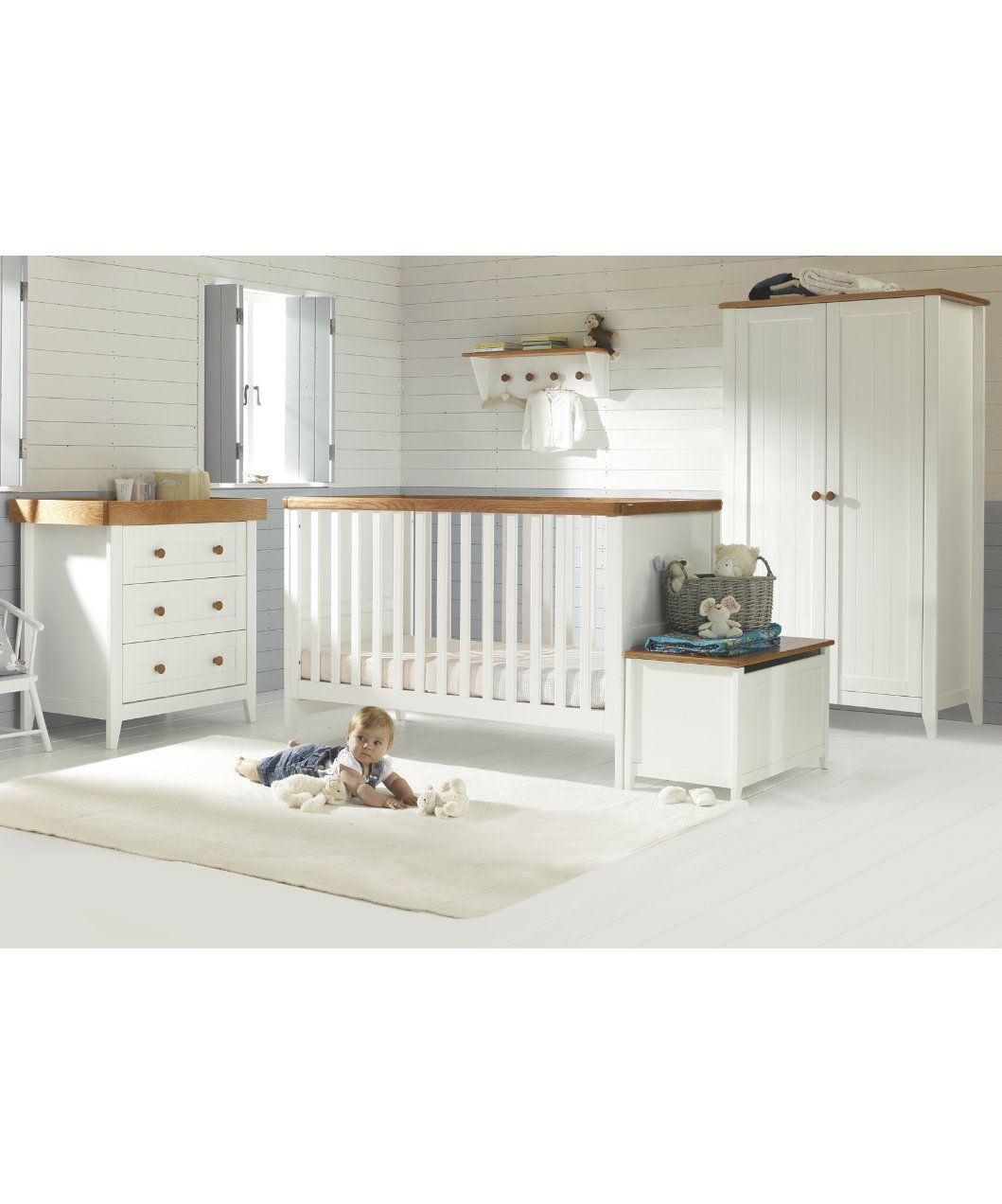 Mothercare Nautical Bedding: Cot Bedding, White Cot Bed, White