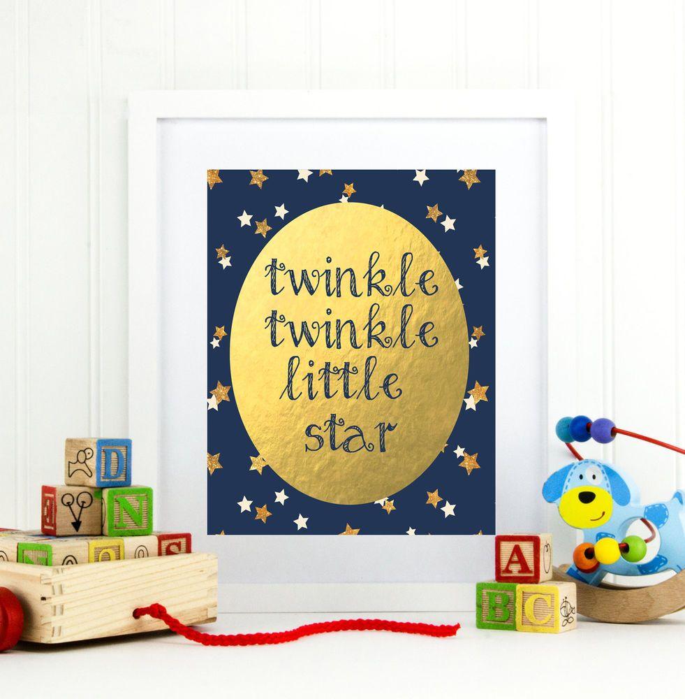 Pretty Twinkle Twinkle Little Star Wall Art Contemporary - The Wall ...