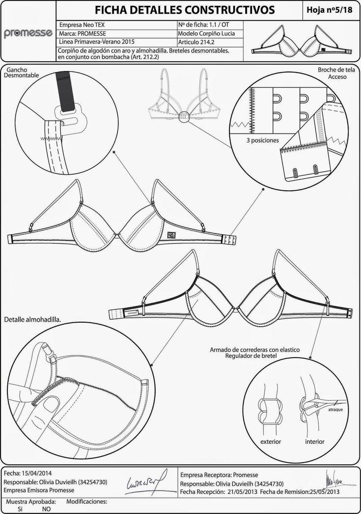 Fichas Tecnicas Lenceria | costura | Pinterest | Lenceria, Costura y ...