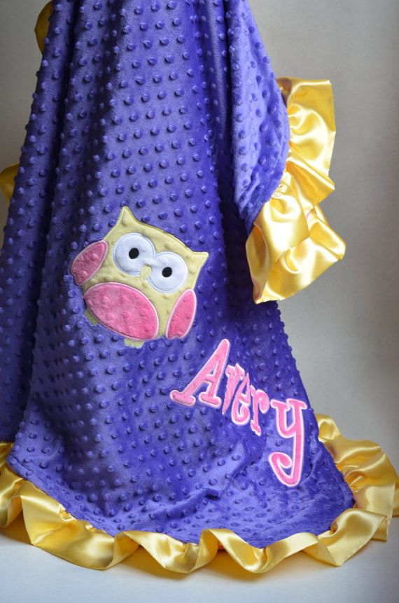 Large Minky Baby Blanket Personalized with Appliqués Snugglebearboutique  Perfect gift for baby from grandparents