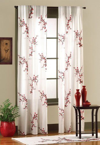White Curtain With Asian Print