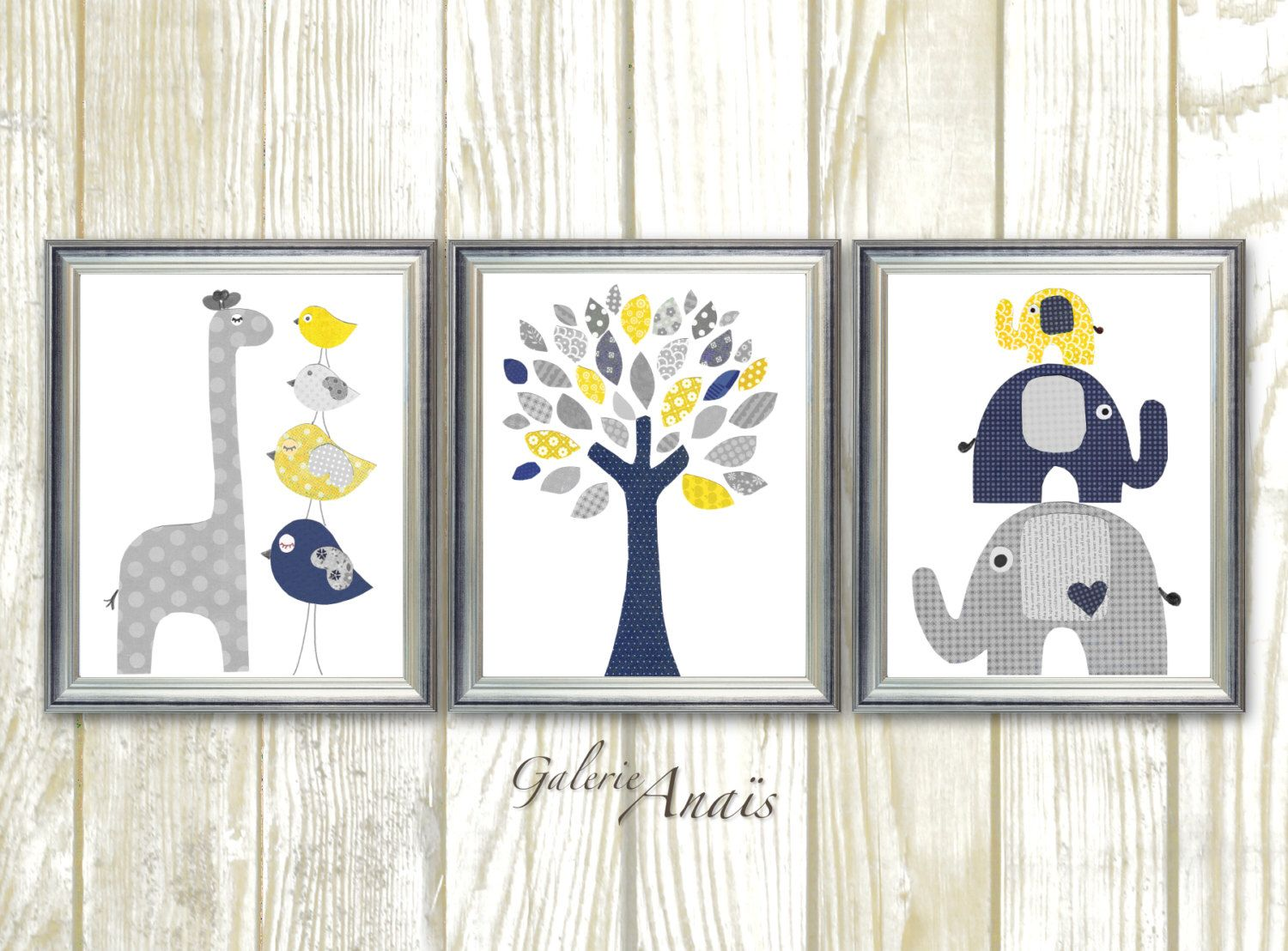 Navy blue yellow and gray nursery art print baby boy room decor kids