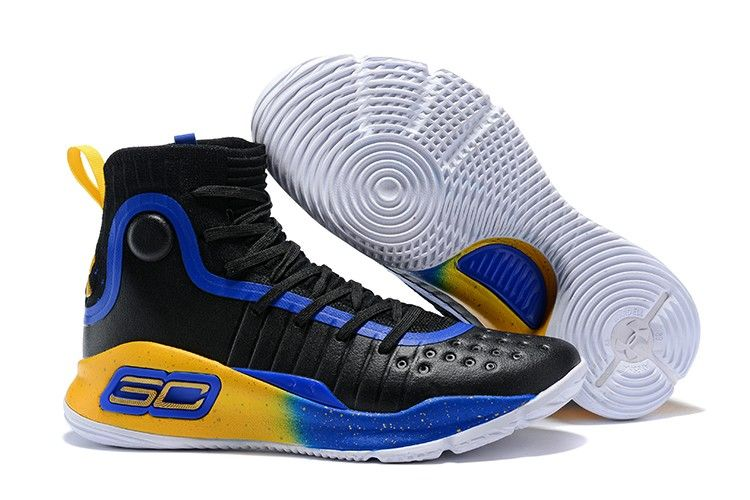 2018 Under Armour Curry 4 Black Royal Blue-Yellow in 2019  dda72c82a