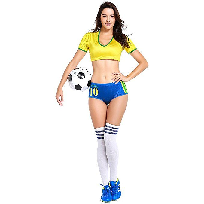 803f77938 Football Cheerleading Uniform for Women Sexy Adult Soccer Baby Outfit  Cheerleader Costume Short Sleeve Shirt (Brazil)