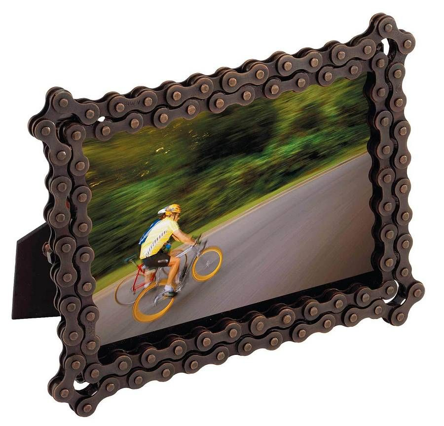 Rectangular Bike Chain Photo Frame by Created Gifts | Recycled bike ...