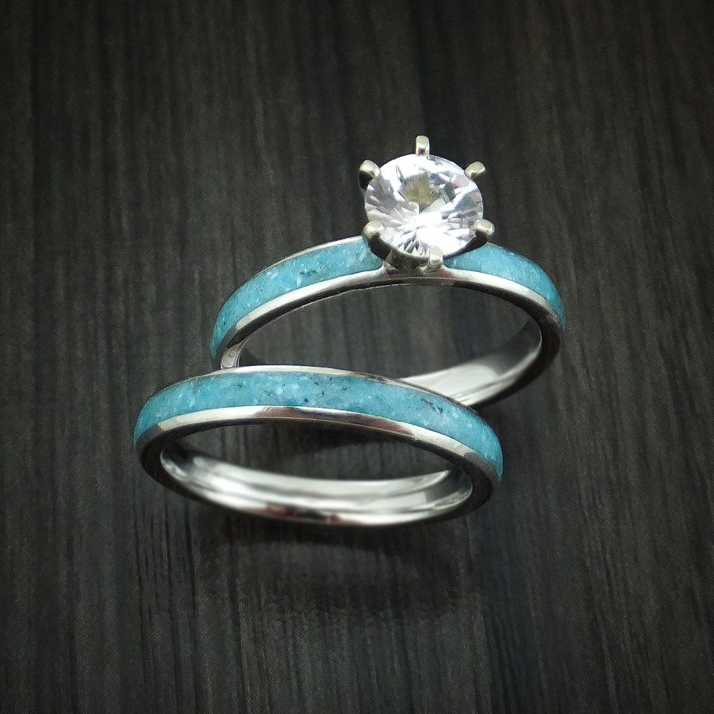 Cobalt Chrome and White Sapphire Engagement and Wedding