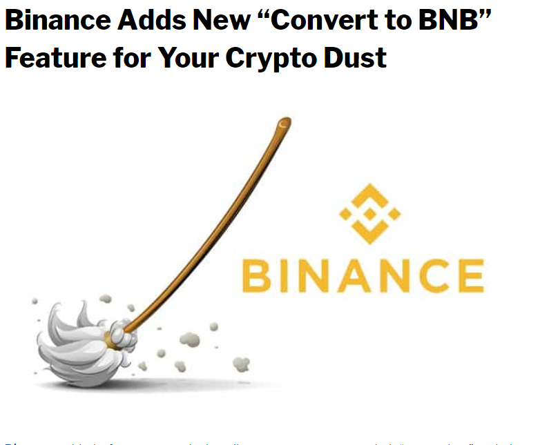 """Binance Adds New """"Convert to BNB"""" Feature for Your Crypto"""