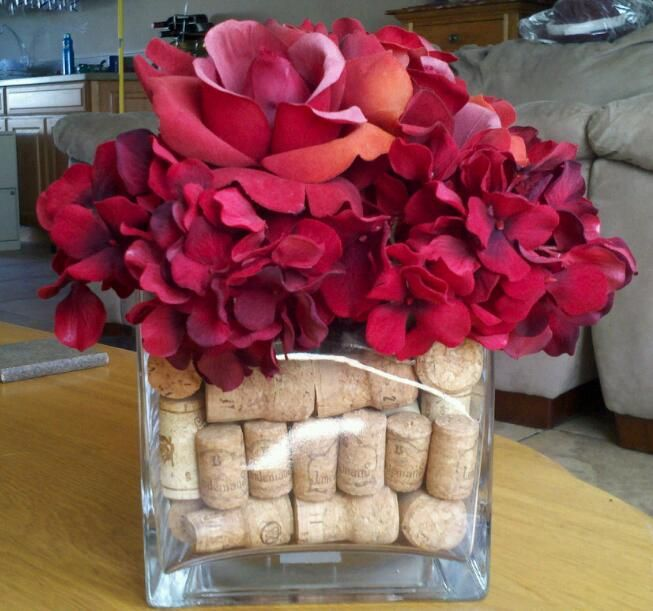 Wedding Cork Boutonniere: Flower Arrangement Using My Old Champagne And Wine Corks