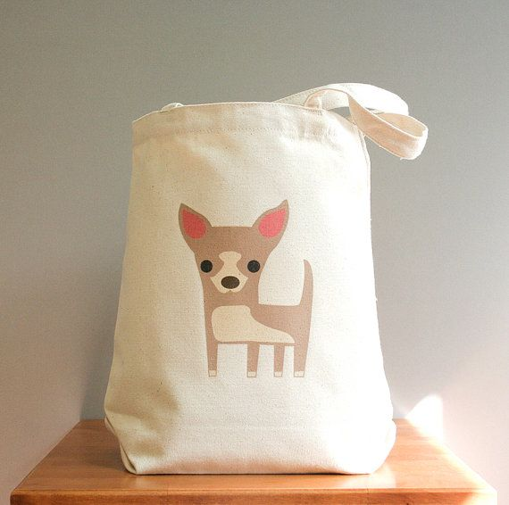 Canvas tote, chihuahua, small with a big heart. Sturdy 100% 10oz. cotton canvas.