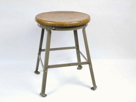 vintage metal u0026 wood industrial shop stool short classroom stool 19 in seat