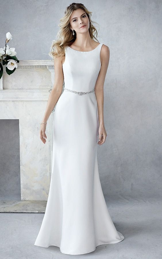 Ella Rosa Be443 Plain Satin Fitted Gown With Detachable Soft Tulle Skirt And Beaded Belt Plain Wedding Dress Glamourous Wedding Dress Fitted Wedding Dress