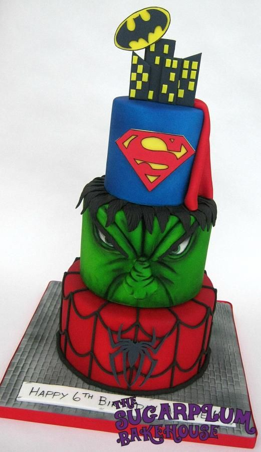 Mini 3 Tier Superhero Cake amazing superhero cool marvel dc