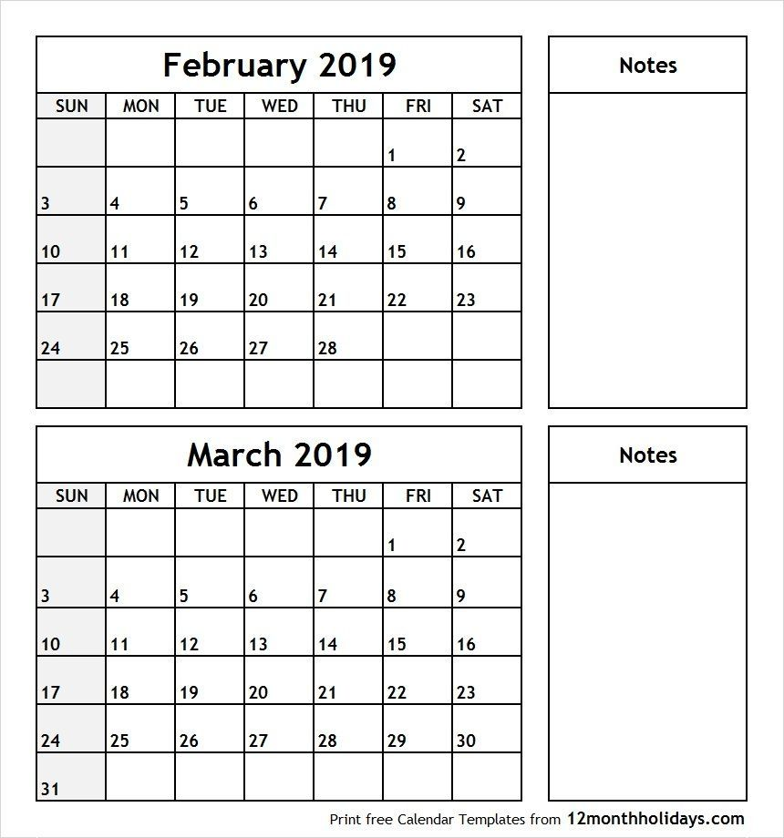 February And March 2019 Calendars February and March 2019 Calendar Printable | 999+ Monthly Calendar