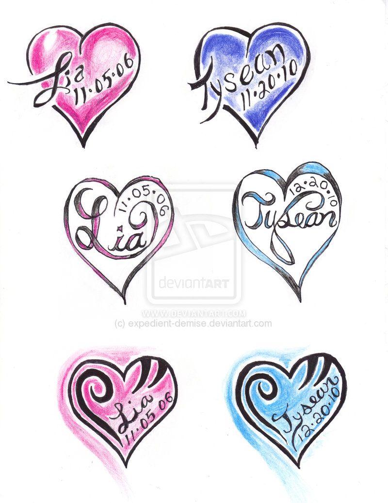 Heart Name Tattoo Samples Heart Tattoos With Names Tattoos With Kids Names Tattoo Samples