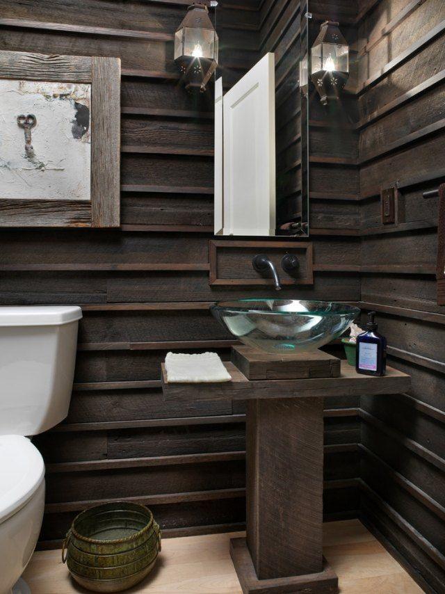 badezimmer ohne fliesen gestalten-dunkle Holzverkleidung für mehr - badezimmerwände ohne fliesen