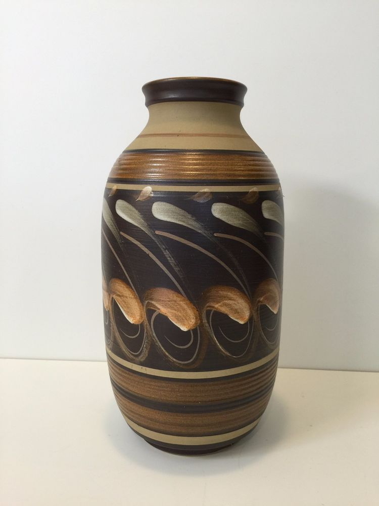Vintage Denby England Hand Painted Pottery Vase 13 Tall X 7 Wide