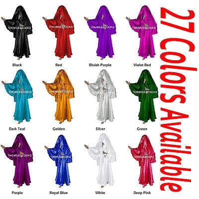 25 Color TMS Full Circle Skirt Veil Set Belly Dance Costume Tribal Gypsy Club