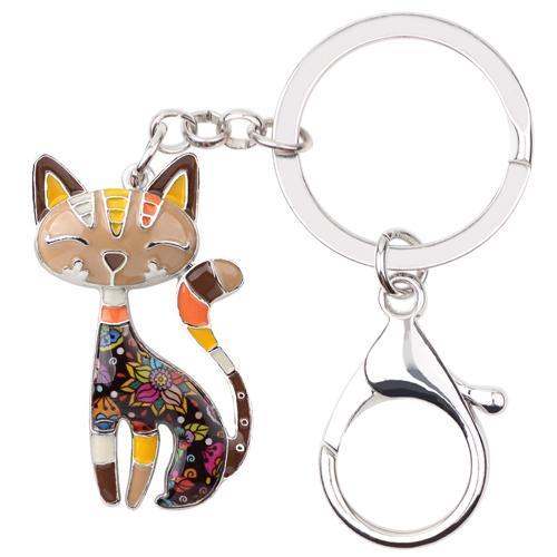 WEVENI Enamel Metal Cat Kitten Key Chain Key Ring HandBag Charm Keychain  Accessories New Trendy Jewelry For Women Cat Lover Gift e8ab13c8eb